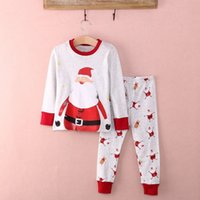 Wholesale Kids Santa Claus Pajamas - 2016 newly Christmas Baby Kid Boys girls suits Santa Claus Nightwear Pajamas logo printed Set Sleepwear warm long sleeve tshirt+pabts sets
