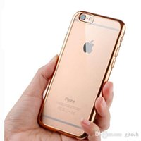 Wholesale Rubber Iphone 5s Covers Clear - 2016 New ! Luxury Ultra Thin Clear Crystal Rubber Plating Electroplating TPU Soft Mobile Phone Case For Apple iPhone 5S 6 6s Plus Cover bag