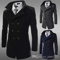 Wholesale Mens Wool Pea Coat Slim - Wool Men Overcoat Trench Winter Warm Plus Size Mens Trench Patchwork Solid Coat British Wild Long Pea Trench For Mens J160824