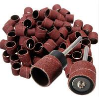Wholesale Rotary Dremel - 100pcs 1 2 Sanding Ba nds Kit + 2 Sanding Drum Mand rels for Dremel Rotary Tool Parts