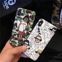 Capa de camuflagem de moda para iphone X 8 plus Cartoon Graffiti Soft TPU capa traseira para Apple iphone 6s 6 7 plus Fundas