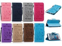 Cartoon Teddy Bear Case portefeuille en cuir pour Iphone 7 Plus I7 6 6S SE 5 5S Mignon Ne Touch My Phone Pouch Support Cartes couvercle du logement 50pcs de luxe