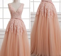 Wholesale Dresses For Young Girls - Sweet Fluffy Tulle A Line Evening Dresses with Appliques Beaded V Neck Prom Dresses For Young Girls Custom Made Prom Dresses