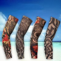 Wholesale Tattoo Arm Sleeves Skulls - New Fashion Cycling Sleeves Punk Men Women Tamporary UV Skull Theme Fake Tattoo Sleeves Arm Warmers Sleeve 10Pairs