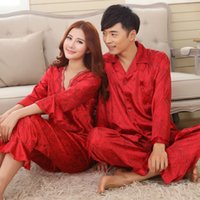 Wholesale men s silk pajama - Wholesale-Faux silk mens pajama sets men sleepwear male sleep&lounge Chinese red wedding Pijamas for women couple pajamas female pyjamas