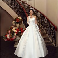 Brand New Satin Wedding Dresses with Bow White / Ivory Sweet Princess Ball Dress Официальное платье с запасом / Custom Bridal Gown