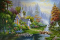 art cottages NZ - Thomas Kinkade Landscape Oil Paintings Repro Art High Quality HD Print On Canvas Forest Cottage Church Modern Home Art Living Room Decor
