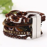 Wholesale Brazilian Gold Jewelry - Wholesale- 2015 New Handmade Jewelry Bohemian Braided Leather Wrap Brazilian Bracelet Brown Beads Bangle with Magnetic Clasp for Women Men