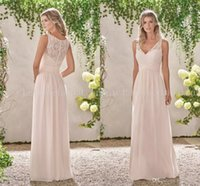 Wholesale Peach Color Bridesmaids Dresses - Peach V-neck Chiffon Long Beach Bridesmaid Dresses Lace Sleeveless 2017 Cheap Maid of the Honor Dress with Zipper Back Custom Made