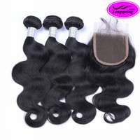 Wholesale Double Weft Indian Hair Extensions - Top Lace Closure + 3 Pcs Brazilian Hair Bundles Peruvian Indian Malaysian Cambodian Virgin Human Hair Extensions Body Wave Hair Wefts