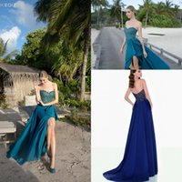 Wholesale Sexy Night Wear Picture - Sexy Tarik Ediz Dresses Evening Wear Teal Blue Sweetheart Split Appliques Lace On Top Long Formal Prom Party Night Dress Custom Made