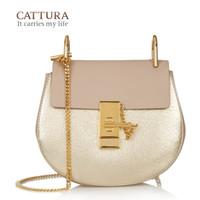 Wholesale Genuine Leather Cross Shoulder Bags - 2016 New Women Fashion Saddle Chain Small Genuine Leather Messenger Bags Handbags Women Famous Brands Cross Body Shoulder Bag