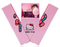 Wholesale Best Facial Kits - Newest Portable Hello Kitty 8Pcs Makeup Brush Set Mini Professional Facial Cosmetics Make Up Brushes Set With Mirror best quality