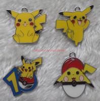 Wholesale Pikachu Jewelry - wholesale Free shipping New 50pcs Pikachu Pokeball Metal Charm Pendants Jewelry Making Party Gifts