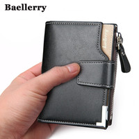 Wholesale wholesale mens leather wallets - Wholesale-Wallet men genuine leather men wallets purse short male clutch leather wallet mens Baellerry brand money bag quality guarantee