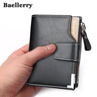 Wholesale money passports - Wholesale-Wallet men genuine leather men wallets purse short male clutch leather wallet mens Baellerry brand money bag quality guarantee