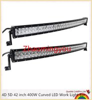 Wholesale 11 Inch Led Truck Light - YOO 4D 5D 42 inch 400W Curved LED Work Light Bar for Tractor Boat OffRoad 4WD 4x4 Truck SUV ATV Spot Flood Combo Beam 12V 24v
