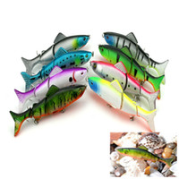Wholesale Sea Fishing Spinners - Hengjia 40PCS wholesaler Jointed link lures Deep sea Minnow Rap spinner Plastic bait Section Three fish 8Colors 12.5CM 17.7G JM009