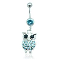 Wholesale Piercing Navel Owl - Fashion Belly Button Rings 316L Stainless Steel Barbell Dangle Two Color Rhinestone Owl Navel Piercing Jewelry