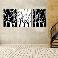 Wholesale Canvas Sculpture Art - Black and White of Tree Wall Art Decor - Contemporary Large Modern Hanging Sculpture - Abstract Set of 3 Panels