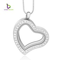 Wholesale Magnetic Heart Pendant Necklace - 30mm Silver Heart magnetic glass floating charm locket Living memory locket (chains included for free) LSFL03-1
