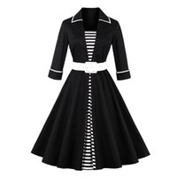 Wholesale knee length swing cocktail dress - Women's Audrey Hepburn Style Flared Swing Rockabilly Dressed Pin Up 1950s 60s Striped Dresses Short Bridesmaid Cocktail Prom Dress with Belt