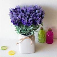 Wholesale Red Aquatic Plants - 32cm 10 heads Romantic Provence decoration lavender flower silk artificial flowers grain decorative Simulation of aquatic plants