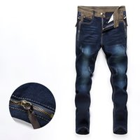Men blue denim overalls - autumn men ripped skinny jeans pants straightdenim trousers biker overalls size DK26
