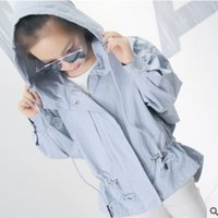 Wholesale Girls Size Trench Coats - Girls Trench 2017 New Spring Autumn Children's Drawstring Section 2 Solid Colors Girls Leisure Windbreaker Size 110-160 ly464