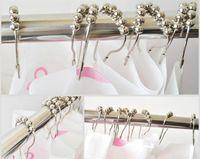 Wholesale Wholesale Chrome Shower Curtain Hooks - 12pcs set 2016 Shower Curtain Hooks Stainless Steel, Polished Chrome ring A017
