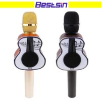 Wholesale Guitars Songs - Wooden Guitar design M9 Bluetooth Karaoke Microphone Speaker KTV Singing Song Handheld Mic with Loudspeaker for smartphone Free Shipping