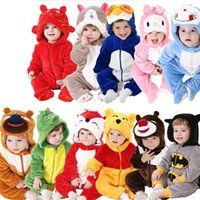 Wholesale Infant Unisex Fleece - Baby Clothes Cute Winter Warm Long Sleeve Coral Fleece Infant Baby Rompers Cartoon Jumpsuit Boys Girls 3D Animal RT238
