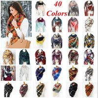 ingrosso sciarpe a righe di moda-Sciarpe scozzesi a quadri Pashmina Grid Scialle a righe Tartan Sciarpa a nappa Cosy Fashion Wraps Oversize Cashmere Lattice Neckchief Blankets OOA2740