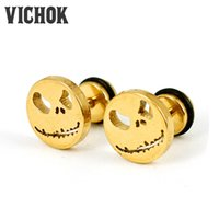 Wholesale Earring Stitch - 316L stainless steel earrings 2017 Fashion Stitch Monster Ghost Face Screw Back Stud Earrings best gift free shipping For lady VICHOK