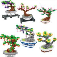 pot plant design großhandel-BOB blockt neues design 6 Modelle blumen Mini Topfpflanzen Blöcke set Für Kinder kirschblüten Building Kits rose Creator Block 9557-9562