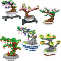 yeni saksılar toptan satış-BOB blokları yeni tasarım 6 Modelleri çiçekler Çocuklar Için Mini Saksı bitkileri Blokları set kiraz çiçekleri Yapı Kitleri gül Creator Blok 9557-9562