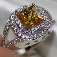 gelber topas silber ring großhandel-Größe 6/7/8/9/10 Dazzling Damen Silber Eternity Square Gelb Topaz CZ Pave Set Ring