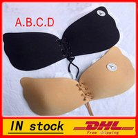 Wholesale Push Dress - New Women Silicone bra cups backless dress butterfly Invisible Push Up Stick On Self Adhesive Front fly Bra Strapless A B C D