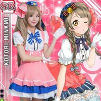 Wholesale love live cosplay for sale - Hot Sale Pink White Short Sleeve Love Live Minami Kotori Cosplay Maid Uniform Dress Costume