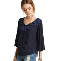 Wholesale Womens Office Cotton Shirts - Embroidery Floral Womens Shirts Blue O Neck Cotton Summer Style Women Blouses Office Loose Spring 2016 Blusas Feminina