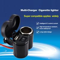 Wholesale Port Bike - Motorcycle Bike Car Cigarette Lighter Adapter Waterproof Car Accessories 12V-24V Power Socket USB Ports Charger For Cellphone iphone Samsung