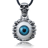 titanium stainless steel chain Canada - Punk Men's Skeleton Skull Eyes silver tone Titanium Stainless Steel leather chain Pendant Necklace X577