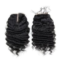 "Wholesale Hair Color Edges - Lace Closure 8-24inch Deep Curly 100% human hair 4x4"" Folding edge lace natural color middle part hair extensions"
