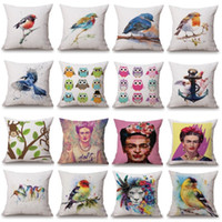 linen cotton black cherry paint color - 3D Stereo Birds Cushion Covers Styles Watercolor Paint Pillows Cover X45cm Pineapple Cherry Strawberry Bedroom Sofa Decoration
