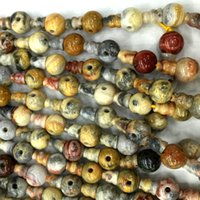 Wholesale Natural Lace Agate - Natural Genuine Yellow Crazy Lace Agate Pagoda Tee Buddha Head Tibet Guru Beads Fit Jewelry DIY Necklaces (10 Beads lot) 04227