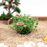 Wholesale House Flower Ceramic - Wholesale- Artificial Bush Flower Miniature Fairy Garden Home Houses Decoration Mini Craft Micro Landscaping Decor DIY Accessories