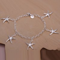 5 Starfishes encantos Rolo Chain Bracelet 925 Sterling Silver Jewelry Acessórios de moda clássicos Atacado Cheap Price Quality Quality Girl Gifts