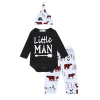 Wholesale Little Bear Hat - Baby little man printing outfits 3pc sets twisted hat+black arrow printing romper+pants bears elk printing infants Xmas clothing for 0-2T