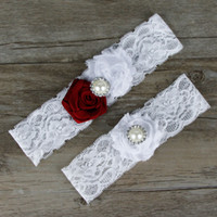 Wholesale Vintage Wedding Garter Sets - 1 Set Wedding Vintage Garter Set Chiffon Flower with Rhinestones and Pearls Red Rose Bridal Lace garter