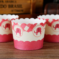 Wholesale Cupcake Paper Cups Cheap - Little elephant cupcake case, muffin paper cups tin liners, cheap cupcakes boxes holder supplies